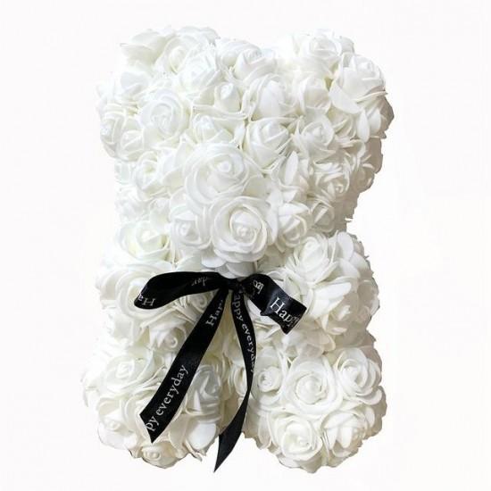 Baltas rožių meškutis 20cm