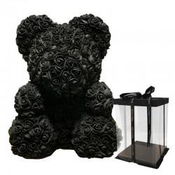 Juodas rožių meškiukas 25cm