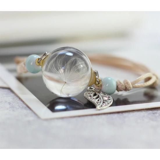 Apyrankė su pienės pūku stikle