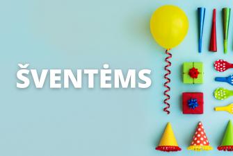 Prekės šventėms, balionai, dekoracijos, pripučiami balionai skaičiai