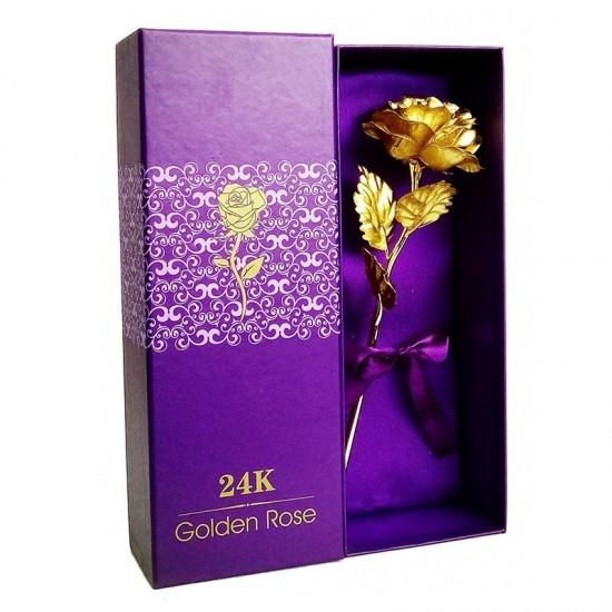 Aukso imitacijos rožė dėžutėje