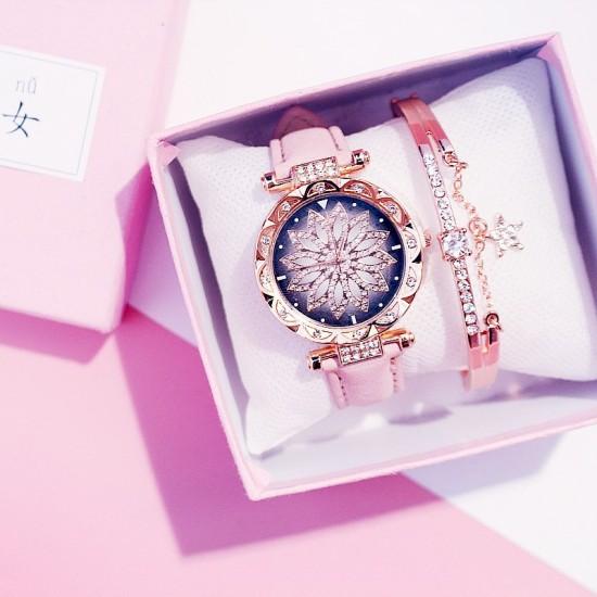 Rožinis rinkinys, laikrodis ir apyrankė