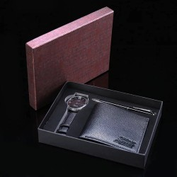 Rinkinys Piniginė+rašiklis+laikrodis