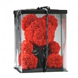 Raudonas rožių meškiukas 25cm