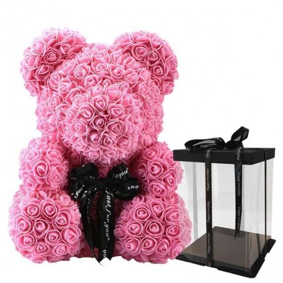 Rožinis rožių meškiukas 25cm