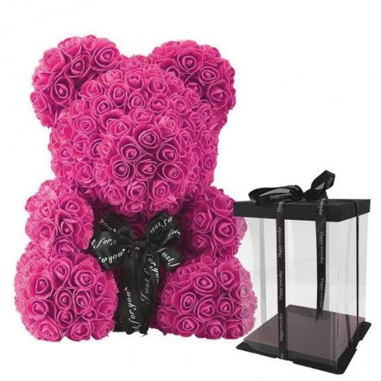 Violetinis rožių meškiukas 25cm